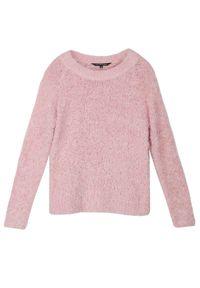 Różowy sweter TOP SECRET casualowy, na zimę, z okrągłym kołnierzem