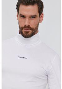 Calvin Klein Jeans - Longsleeve. Okazja: na co dzień. Typ kołnierza: golf. Kolor: biały. Materiał: bawełna, dzianina. Długość rękawa: długi rękaw. Wzór: gładki. Styl: casual