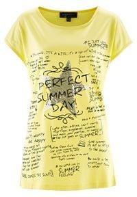 Shirt bonprix jasna limonka z nadrukiem. Kolor: żółty. Wzór: nadruk