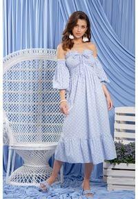 Fobya - Jasnoniebieska Sukienka w Stylu Boho. Kolor: niebieski. Materiał: bawełna. Styl: boho