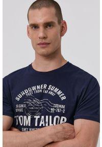 Tom Tailor - T-shirt. Okazja: na co dzień. Kolor: niebieski. Materiał: bawełna. Wzór: nadruk. Styl: casual