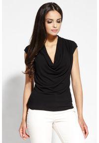 Czarna bluzka Dursi z dekoltem woda, bez rękawów