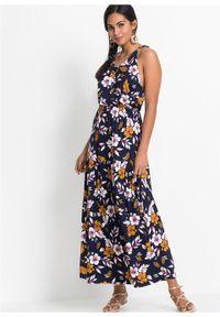 Niebieska sukienka bonprix na lato, w kwiaty, maxi