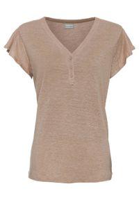 Shirt lniany z rękawami falbanowymi bonprix migdałowy beżowy. Kolor: brązowy. Materiał: len