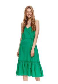 TOP SECRET - Sukienka midi z falbaną. Typ kołnierza: dekolt w kształcie V. Kolor: zielony. Materiał: bawełna, tkanina. Długość rękawa: na ramiączkach. Długość: midi