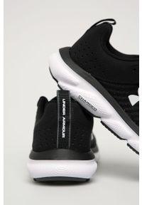 Czarne buty sportowe Under Armour na sznurówki, do biegania, z cholewką