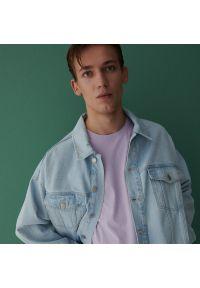 Reserved - Bawełniany t-shirt - Fioletowy. Kolor: fioletowy. Materiał: bawełna