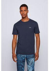 BOSS - Boss - T-shirt Boss Athleisure. Okazja: na co dzień. Kolor: niebieski. Materiał: dzianina. Wzór: gładki. Styl: casual