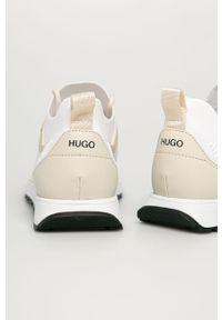 Białe sneakersy Hugo z okrągłym noskiem, z cholewką, na sznurówki