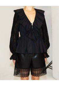 SELF PORTRAIT - Czarna koszula z koronką. Okazja: na co dzień. Kolor: czarny. Materiał: koronka. Długość: długie. Wzór: koronka. Styl: casual, elegancki