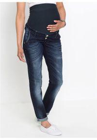 """Dżinsy ciążowe Boyfriend ze zwężanymi nogawkami bonprix ciemnoniebieski """"stone used"""". Kolekcja: moda ciążowa. Kolor: niebieski"""