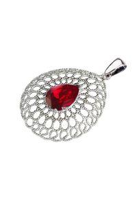 Polcarat Design - Srebrny wisiorek z kryształem Swarovski W 2025. Materiał: srebrne. Kolor: srebrny. Kamień szlachetny: kryształ