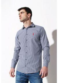 Niebieska koszula Edward Orlovski elegancka, w kratkę