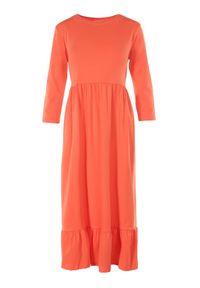 Born2be - Pomarańczowa Sukienka Himeete. Kolor: pomarańczowy. Materiał: bawełna, dzianina. Długość: midi