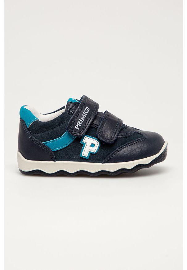 Niebieskie buty sportowe Primigi z cholewką, z okrągłym noskiem, na rzepy