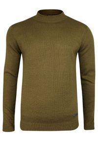 Beżowy sweter Brave Soul z klasycznym kołnierzykiem, klasyczny, na jesień