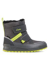 Szare buty zimowe Clarks z cholewką