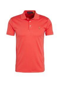 Ralph Lauren - RALPH LAUREN - Czerwona koszulka polo Slim Fit. Typ kołnierza: polo. Kolor: czerwony. Materiał: prążkowany. Wzór: haft, aplikacja, kolorowy