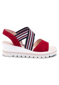 Czerwone sandały Gabor marine, na co dzień