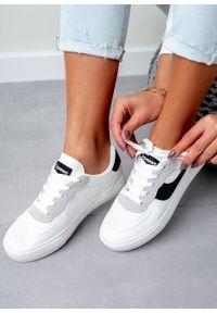 Casu - białe buty sportowe sznurowane casu k298. Okazja: na co dzień, na uczelnię, do pracy. Kolor: biały. Materiał: skóra ekologiczna, materiał. Szerokość cholewki: normalna. Sezon: wiosna, lato. Styl: sportowy