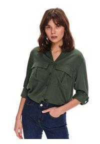 TOP SECRET - Koszula damska z podwijanym rękawem. Okazja: na co dzień. Kolor: zielony. Materiał: jeans. Długość rękawa: długi rękaw. Długość: długie. Sezon: wiosna. Styl: casual