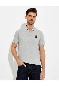 Ralph Lauren - RALPH LAUREN - Szara koszulka polo z misiem Custom Slim Fit. Okazja: na co dzień. Typ kołnierza: polo. Kolor: szary. Materiał: bawełna, prążkowany. Wzór: haft. Styl: casual, klasyczny