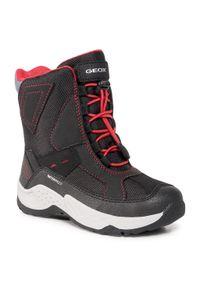 Czarne buty zimowe Geox na spacer, z cholewką