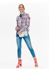 TOP SECRET - żakiet damski. Kolor: niebieski. Materiał: tkanina, jeans, żakard. Długość: krótkie. Wzór: kolorowy. Sezon: lato, wiosna. Styl: elegancki
