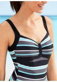 Kostium kąpielowy bonprix turkusowy w paski. Kolor: niebieski. Wzór: paski