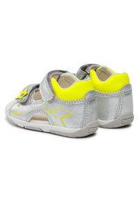 Geox - Sandały GEOX - B S.Tapuz G.A B150YA 0Y2BC C0598 Silver/Fluo Yellow. Zapięcie: pasek. Kolor: srebrny. Materiał: skóra. Wzór: paski. Sezon: lato. Styl: wakacyjny, młodzieżowy