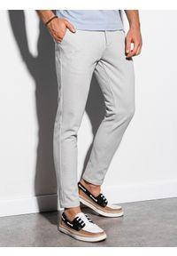 Ombre Clothing - Spodnie męskie chino P891 - jasnoszare - XXL. Kolor: szary. Materiał: elastan, dzianina, bawełna, poliester. Styl: elegancki