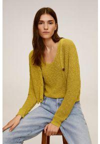 Żółty sweter rozpinany mango