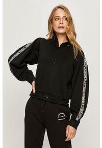 Czarna bluza Karl Lagerfeld krótka, raglanowy rękaw, z nadrukiem, bez kaptura