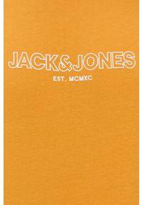 Jack & Jones - T-shirt bawełniany. Okazja: na co dzień. Kolor: pomarańczowy. Materiał: bawełna. Wzór: gładki, nadruk. Styl: casual