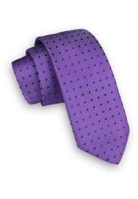Alties - Fioletowy Klasyczny Męski Krawat -ALTIES- 6cm, w Granatowe Groszki, Kropki. Kolor: niebieski. Materiał: tkanina. Wzór: grochy. Styl: klasyczny
