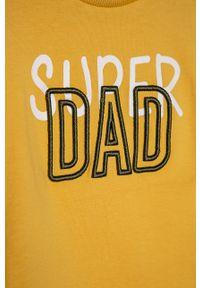 Żółta koszulka z długim rękawem Name it na co dzień, casualowa, z nadrukiem