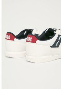 Białe sneakersy Jack & Jones na sznurówki, z cholewką, z okrągłym noskiem