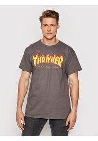 Thrasher T-Shirt Flame Szary Regular Fit. Kolor: szary