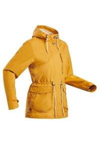 quechua - Kurtka turystyczna - NH550 WTP - damska. Kolor: pomarańczowy, wielokolorowy, beżowy. Materiał: poliester, poliamid, materiał