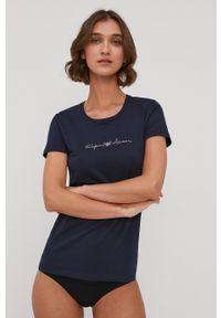 Emporio Armani Underwear - Emporio Armani - T-shirt piżamowy. Kolor: niebieski. Materiał: dzianina, materiał. Wzór: aplikacja