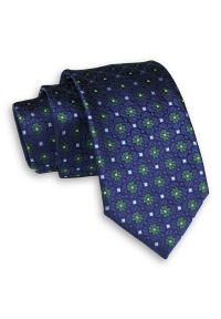 Alties - Granatowo-Zielony Elegancki Męski Krawat -ALTIES- 7 cm, Klasyczny, w Kwiatki. Kolor: niebieski. Materiał: tkanina. Wzór: kwiaty. Styl: klasyczny, elegancki