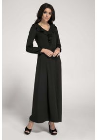 Czarna sukienka wizytowa Nommo w kwiaty, z falbankami, maxi
