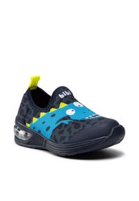 Bibi - Sneakersy BIBI - Space Wave 2.0 1132099 Naval/Print/Dinosaur. Kolor: niebieski. Materiał: materiał. Wzór: nadruk