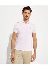 Ralph Lauren - RALPH LAUREN - Różowa koszulka w paski Slim Fit. Typ kołnierza: polo. Kolor: różowy, wielokolorowy, fioletowy. Materiał: bawełna, prążkowany. Wzór: paski