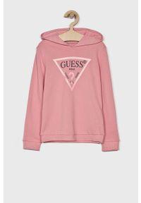 Różowa bluza Guess Jeans z kapturem, na co dzień, casualowa, z nadrukiem