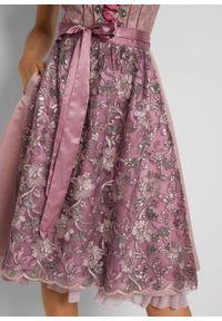 Sukienka w ludowym stylu w żakardowy deseń, z haftowanym fartuchem bonprix różowo-brązowy wzorzysty. Kolor: różowy. Materiał: żakard. Wzór: haft