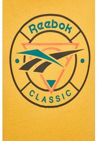 Żółty t-shirt Reebok Classic z nadrukiem, na co dzień, casualowy