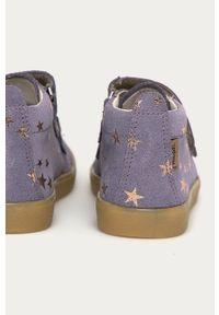 Fioletowe buty sportowe Mrugała na rzepy, z cholewką
