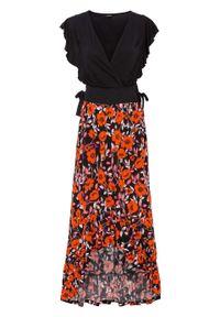 Sukienka z falbanami bonprix czarny w kwiatowy wzór. Kolor: czarny. Wzór: kwiaty