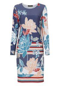 Sukienka z nadrukiem bonprix niebiesko-biało-czerwono-beżowy wzorzysty. Kolor: niebieski. Wzór: nadruk